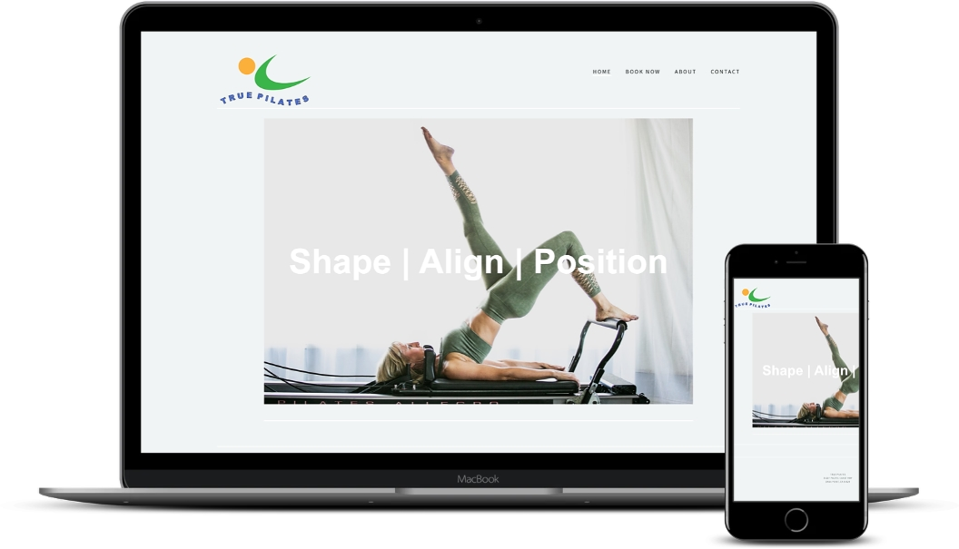 Macbook and Iphone mockup of old True Pilates Website