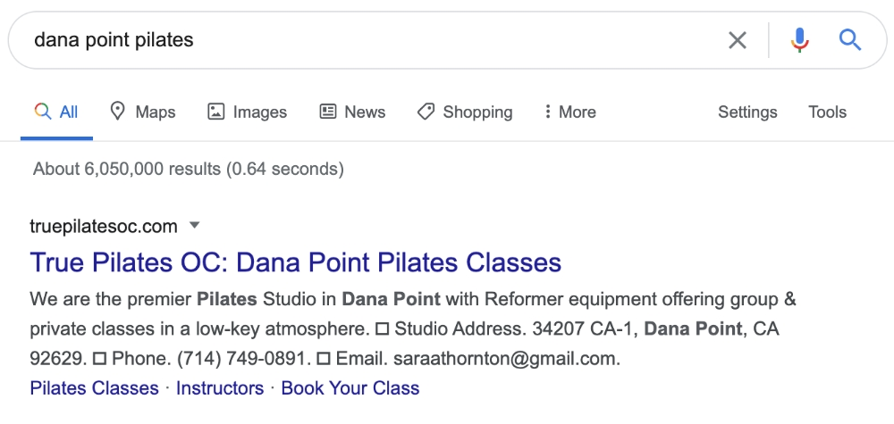 Image displaying Google ranking for client True Pilates OC provided by Digital Product Pro SEO - Small Business SEO Service