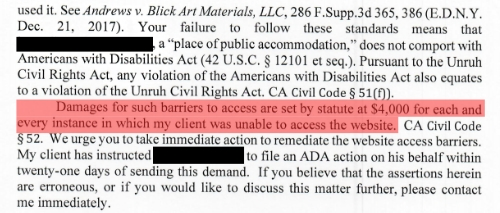 Image displaying an ADA Compliance Attorney Letter with law firm and defendant names blacked out
