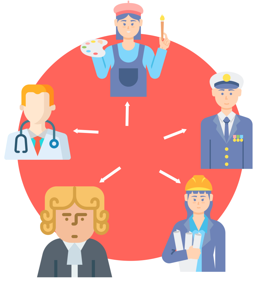 Image displaying a cartoon drawing of Multiple business types that need to be ADA compliant such as a doctor, contractor, music teacher, painter, and pilot