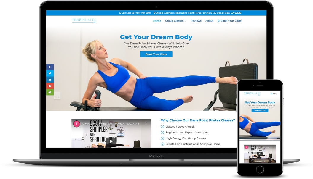 Macbook and Iphone mockup displaying new True Pilates website