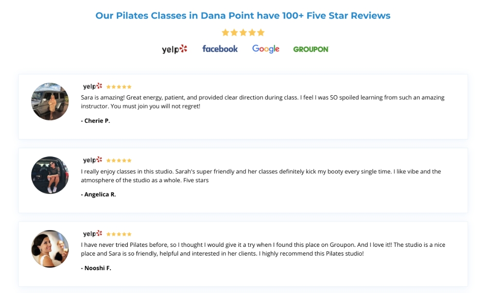 Screenshot showing Social Media Review for True Pilates OC