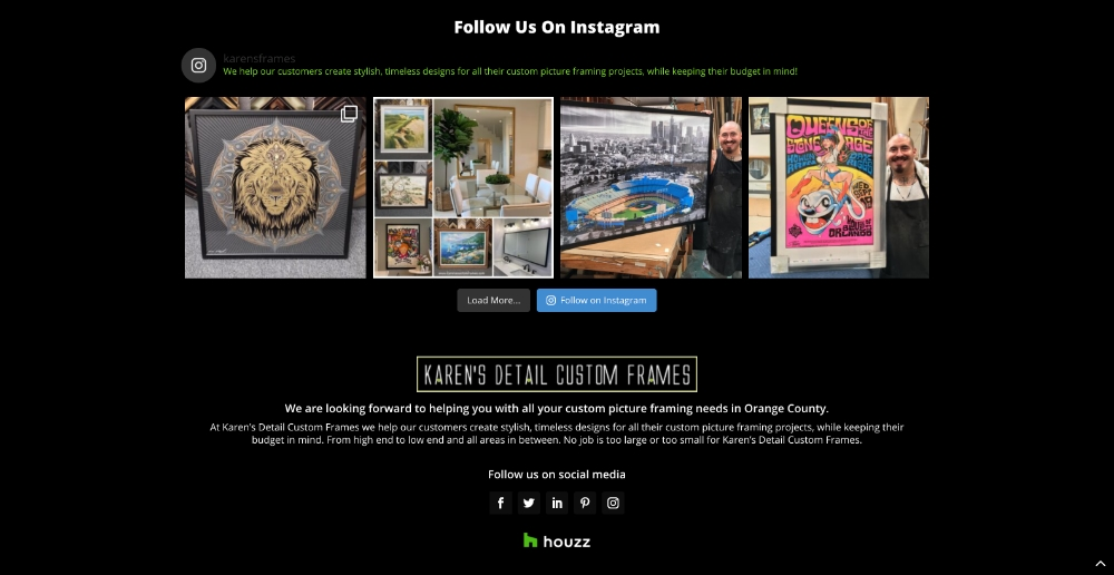 instagram feed displaying 4 custom framing projects