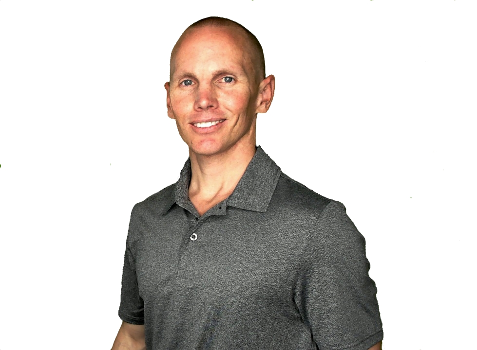white male with short hair wearing grey polo shirt