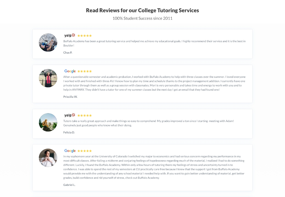 4 social media reviews for college tutoring service